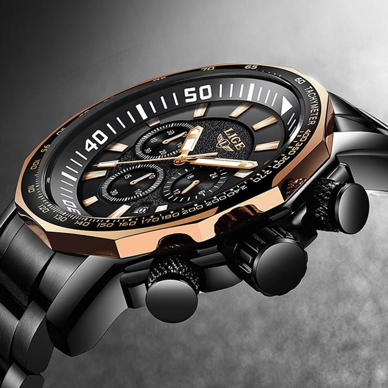 Relogio Masculino LIGE New Men's Watches Fashion Luxury Brand Business Quartz Watch Men's Sports Waterproof Large Dial Men Watch цена и фото
