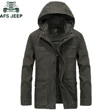 AFS JEEP Brand Military Hooded Jacket Coat Men 100 cotton Autumn Winter Casual Jacket Men Plus