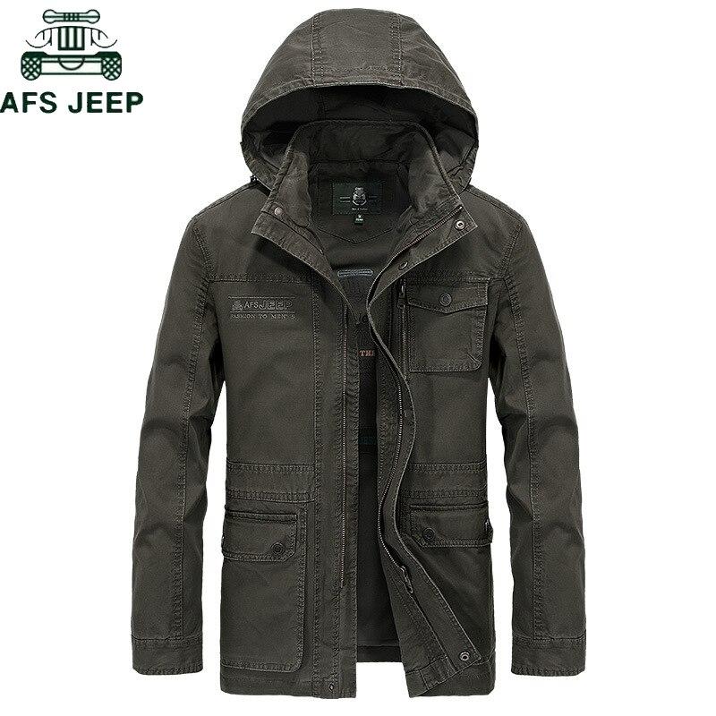 AFS JEEP marca militar chaqueta con capucha abrigo hombres 100% algodón Otoño Invierno chaqueta Casual hombres más tamaño M-4XL Jaqueta masculina