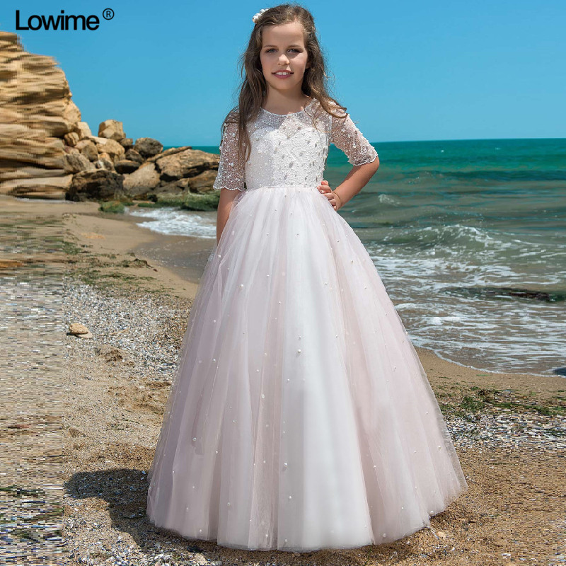 Lowime New Arrival A-line Scoop   Flower     Girl     Dresses   For Weddings With Pearls First Communion   Dress   For   Girls   With Jacket