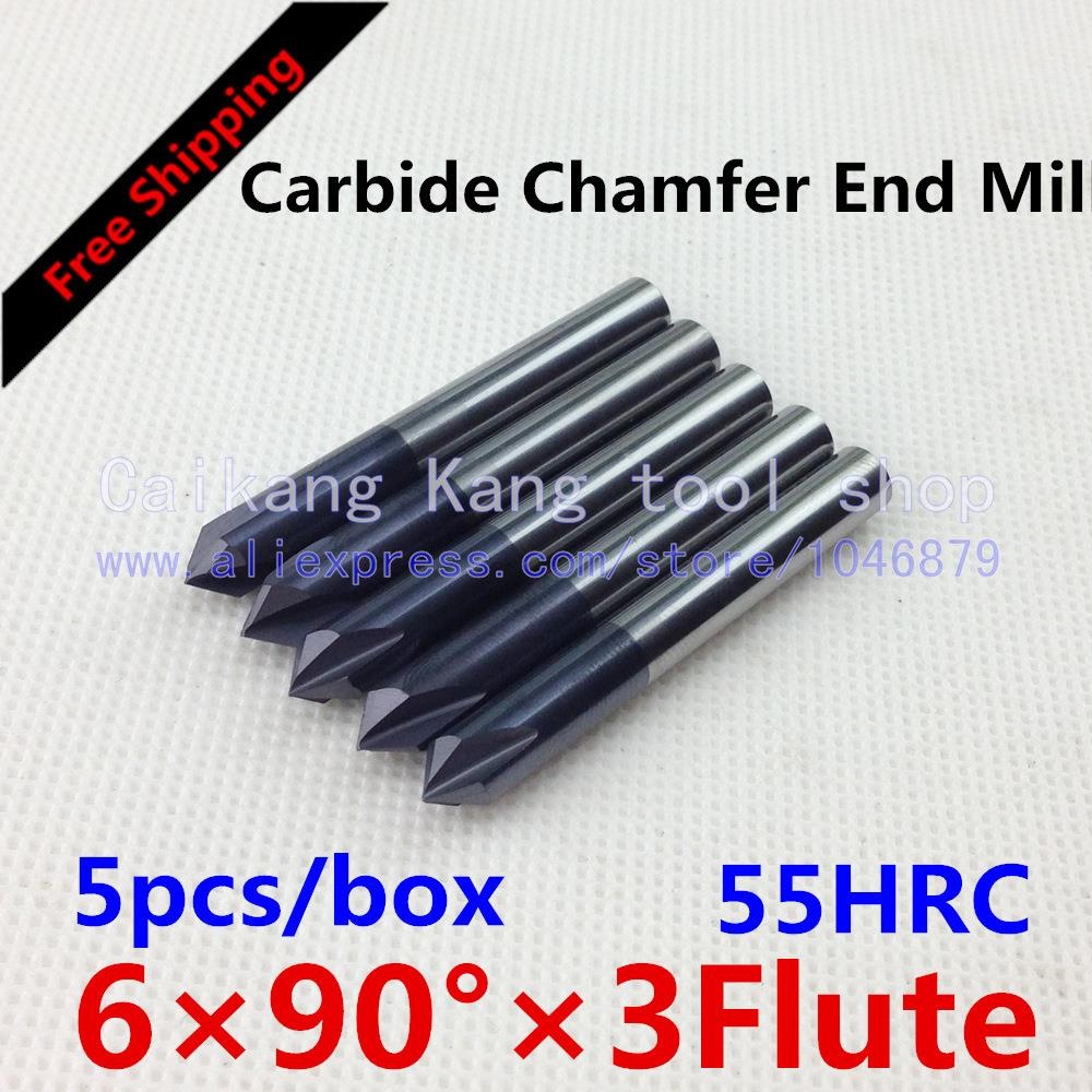 Free shipping 5/box New 3 Flute 90 Angle Head:6mm CNC Carbide Chamfer End mills Highest cutting 55HRC-6*90 Angle
