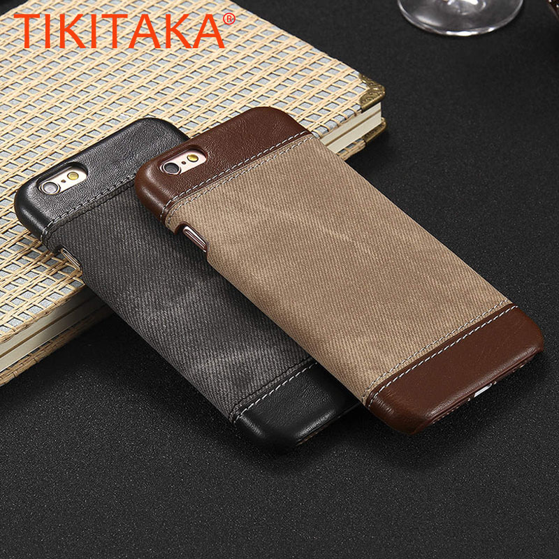 <font><b>Luxury</b></font> PU Leather Canvas <font><b>Case</b></font> For <font><b>iPhone</b></font> 5 5s SE 6 6S Cover 7 7 Plus 8 8 Plus <font><b>Case</b></font> Retro Business Cowboy Hybrid Jeans Style image