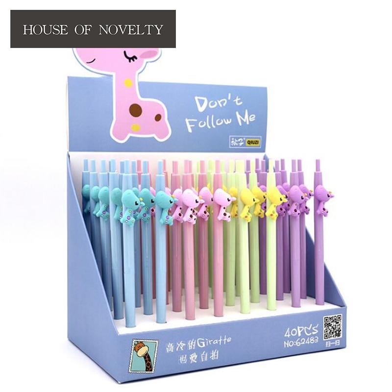 4 pcs/lot Dont Follow Me Giraffe Press Gel Pen Ink Pen Promotional Gift Stationery School & Office Supply
