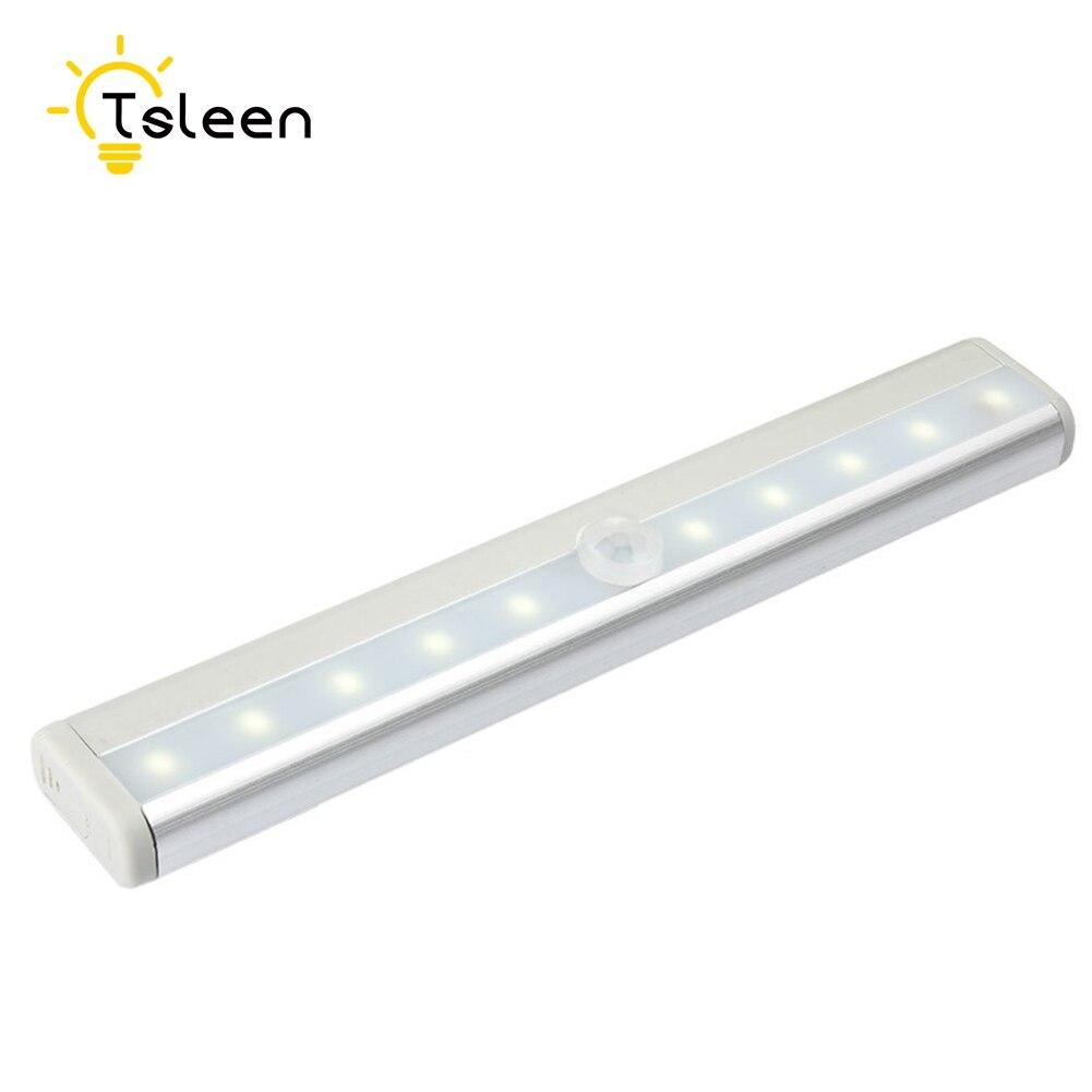 TSLEEN Free Shipping! LED Night Light IR Infrared Motion Sensor 10 LEDs Wireless LED Closet Lights AAA Battery Wardrobe Lights