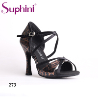 Free Shipping 2017 Suphini Popular Latin Dance Shoes High Flare Heel Satin Wedding Party Rhinestone Professional