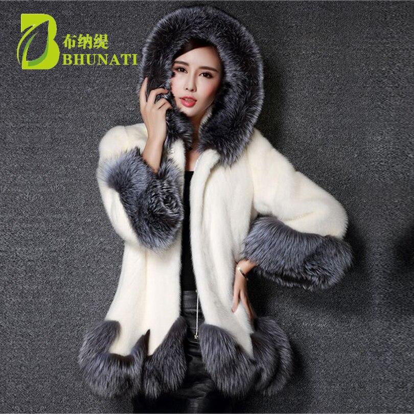 Large Size 3XL Thick Warm Faux Fur Coat Black artificial White fur coat hooded manteau fourrure