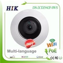 Hikvision 4MP multi-language Wireless wifi fisheye Network IP Camera DS-2CD2942F-IWS  POE / Audio / Alarm 360 degree view camara