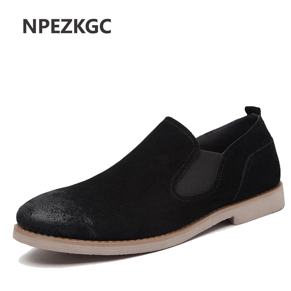 Npezkgc Faux Suede Leather Men Oxfords British Style Spring Autumn Men Shoes New 2017 Fashion