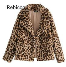 2019 Winter Women Sexy Leopard Printed Fluffy Faux Fur Coat High Street Cozy Printing