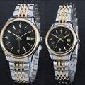 De alta Calidad de Las Mujeres Relojes Parejas Amantes Reloj Señoras Par de Acero Inoxidable Reloj de Los Hombres Relojes