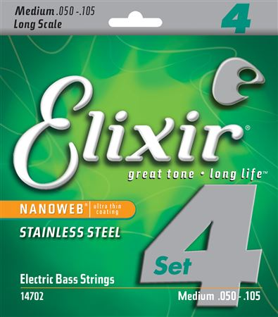 Elixir Original 14702 Electric Bass Stainless Steel with NANOWEB Coating 4-String Light, Long Scale 50-105 rotosound rs66lc bass strings stainless steel