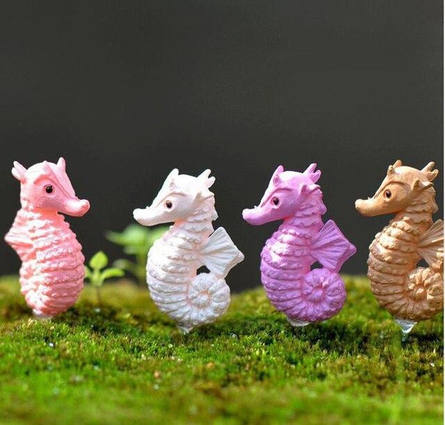 The hippocampus Garden Figurine Cake decoration Moss Ornament miniature resin craft cartoon animal Decor Gift Toy