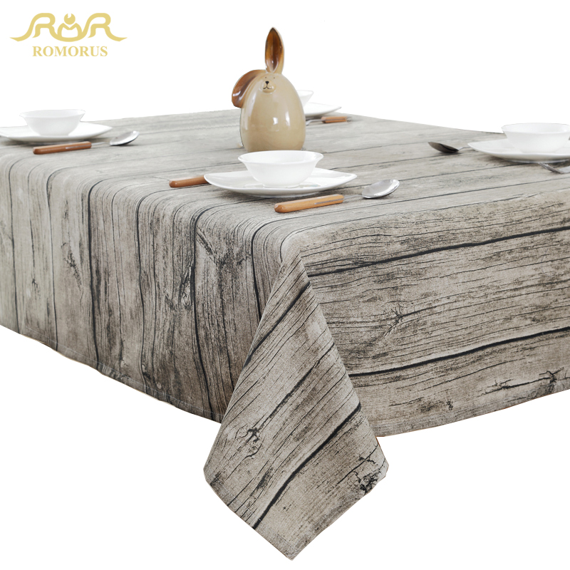 New Design Wood Grain Retro Table Cloth Cotton Linen Tablecloth for Table Rectangle Gray Dustproof Table Covers Free Shipping image