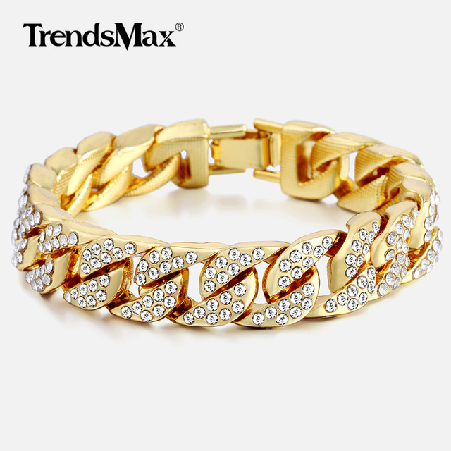 14mm Men s Bracelet Hip Hop Miami Cuban Link Gold Silver Iced Out Paved  Rhinestones Male Wristband Street Jewelry 8-10inch GB403 168512350