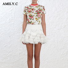 Amily.c 2018 Spring Women Sexy A-Line Flowers Mesh Chic Celebrity Party Black White