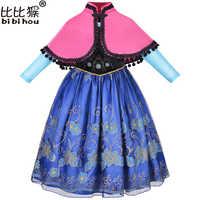 Vestido de manga longa elsa anna crianças vestidos para meninas vestido de princesa elsa traje robe fille crianças princesa anna elza vestido cosplay