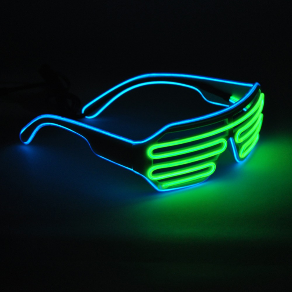 emazing lights 2 color el wire neon led light party dj up bright shutter shaped glasses rave. Black Bedroom Furniture Sets. Home Design Ideas
