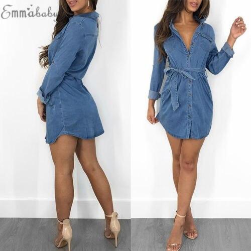 2018 New Fashion Hot Sexy Charming Women's Blue Jeans Pocket Long Sleeve Loose Shirt Mini Dress 3