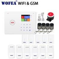 Inteligente 2.4G wi fi de segurança em casa sistema de alarme gsm Android/IOS APP toque teclado voz prompt de SMS & auto dial|android android|work work|android gsm -