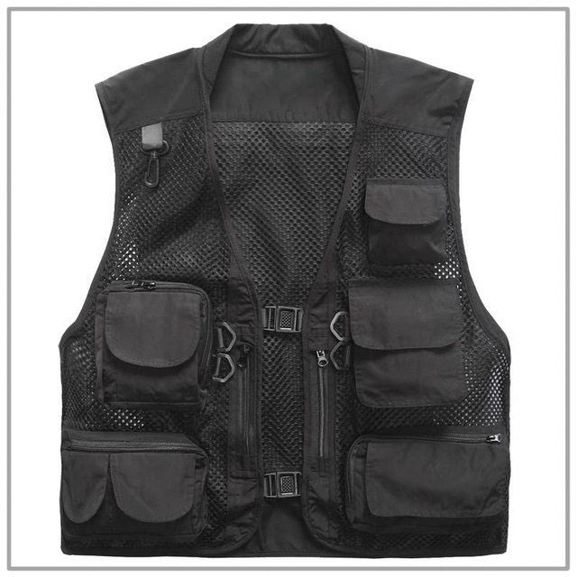 New Fashion Brand Men Vest Tactical Vest Special Forces SWAT Military Director Fisherman Mesh Black Vest Quick Drying Clothes