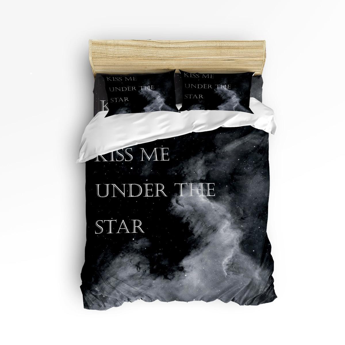Embrasse-moi sous la Star ensembles de literie Romatic 3/4 pièces motif géométrique doublures de lit housse de couette drap de lit taies d'oreiller ensemble de couverture