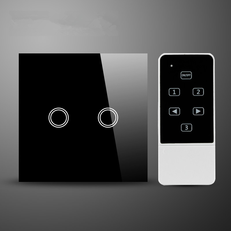UK /EU standard 2Gang 1 Way  black Glass Panel Electrical Light Switches with Remote Control,interruptor de luz touch switch remote control wall switch eu standard touch black crystal glass panel 3 gang 1 way with led indicator switches electrical