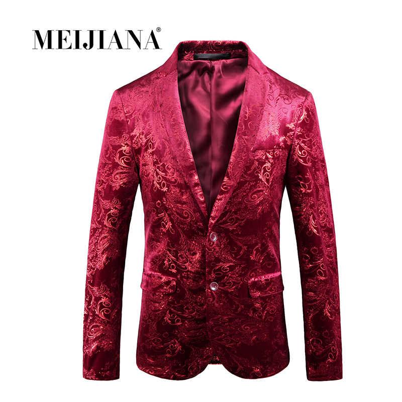 MEIJIANA 2018 衣装男性ジャケットワインレッドフラワープリント花婿の付添人の結婚式のブレザーのイブニングパーティードレススーツブレザー Masculino