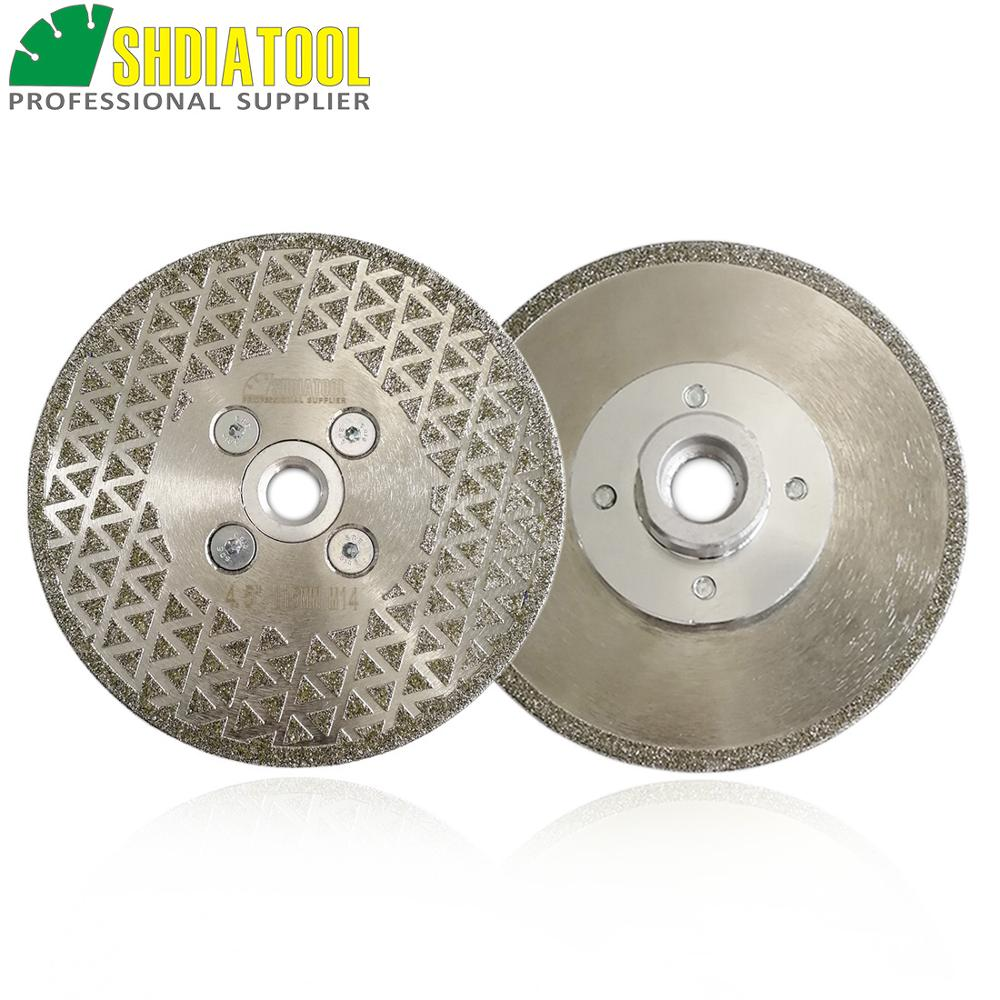 SHDIATOOL 2pcs 115mm M14 Thread Electroplated Diamond Cutting & Grinding Blade Single Side Coated Diamond Saw Disc Marble Blade