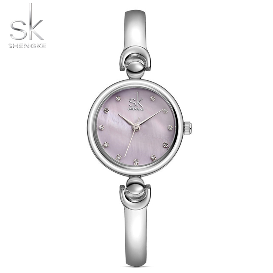 Shengke Quartz Watch Women Fashion Crystal Clock Diamond Bracelet Ladies Watch Stainless Steel Women Watches Purple Girls Gift