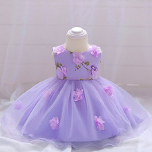 Baby Girl Dress Summer Flower Infant Princess Wedding Dress Newborn 1 Year Birthday Party Dresses Baby Christening Clothes baby wow light blue baby toddler girl princess dress girl wedding 1 year birthday christening gowns flower girl dresses 80131