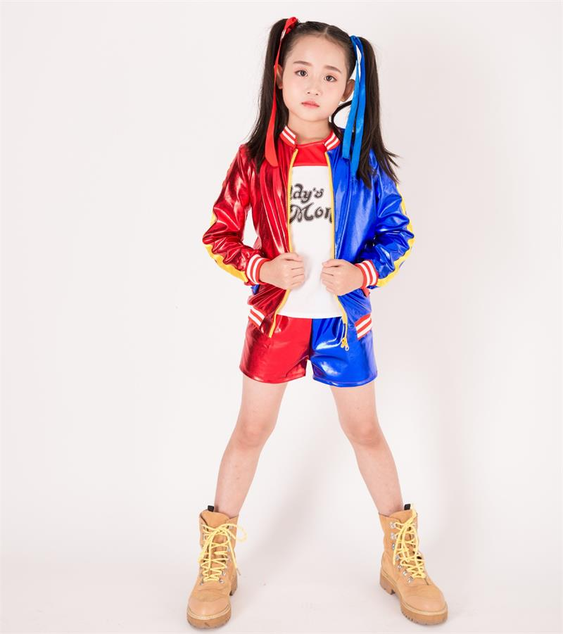 Best Quality Movie Suicide Squad Harley Quinn Cosplay Costume for Kids Girls Halloween Carnival 4 Pcs Jacket Underwear T shirt