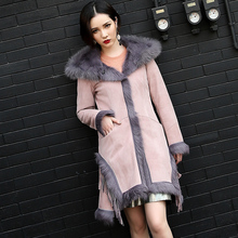 Winter Double-faced Fur Coat Real Natural Wool Long Jacket Kid Suede Trench Overcoat For Women With Hood 161012-6