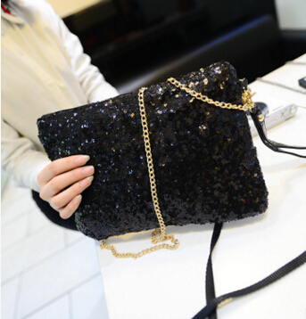 Gold Handbags Sequins-Chain-Bag Shoulder-Bag Fashion European American The New