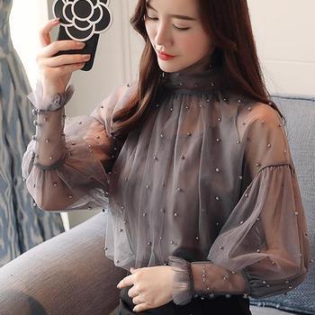 Plus Size 2XL Women Top lantern Sleeve Autumn Spring Blouse Beading Elegant Blouse Chiffon Pearl Shirt 4