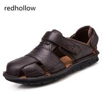 Luxury Genuine Leather Summer Shoes Men Sandals Fashion Male Sandalias Beach Shoes Soft Bottom Breathable 2018 RMC 978