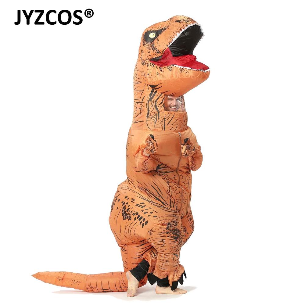 JYZCOS Uppblåsbara T-REX funcy klänning dinosaur kostym cosplay halloween T REX för kvinnor män Jurassic Park disfraces vuxna Barn