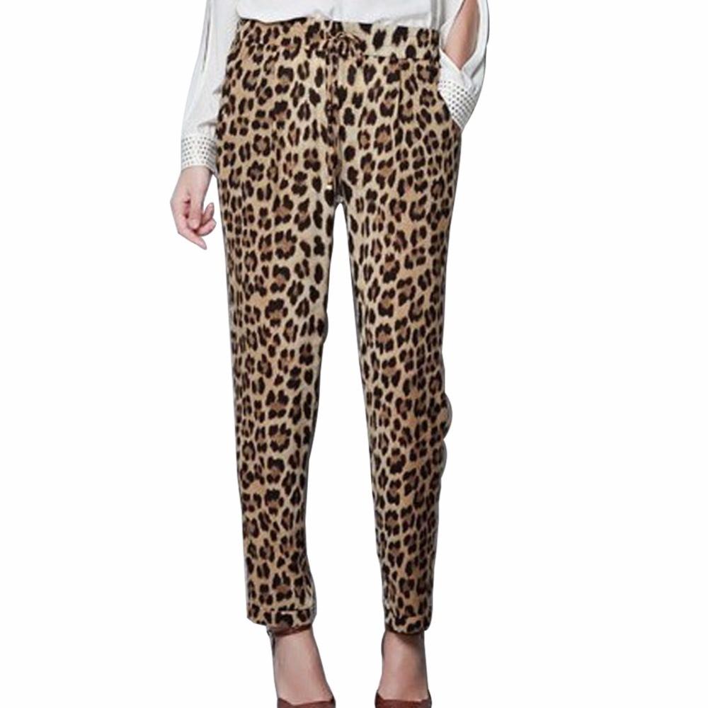 Plus Size S-XXL Summer Leopard Print Harem Pants Loose Casual Trousers Slim Fit Leisure Wear For Women Ladies Pantalon Femme