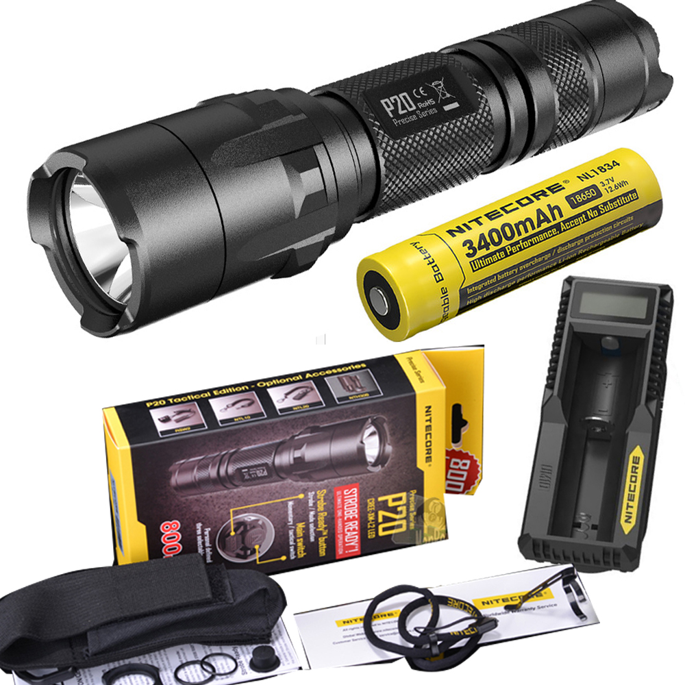 NITECORE P20 Flashlight CREE XM-L2 (U2) LED max. 800LM LED torch for outdoor sports +3200mAh 18650 battery and UM10 charger 2017 new nitecore p12 tactical flashlight cree xm l2 u2 led 1000lm 18650 outdoor camping pocket edc portable torch free shipping