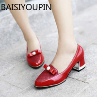 Sweet Butterfly Wedding Shoes Shallow Mouth Shoes All Match Red Black White Thick Women Bow Party