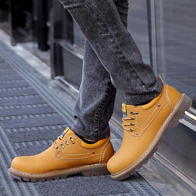 Genuína Botas De Couro Homens Sapatos Ankle Boots Outono Botas Militares Preto Para Os Homens Apartamentos Botas Hombre 2016