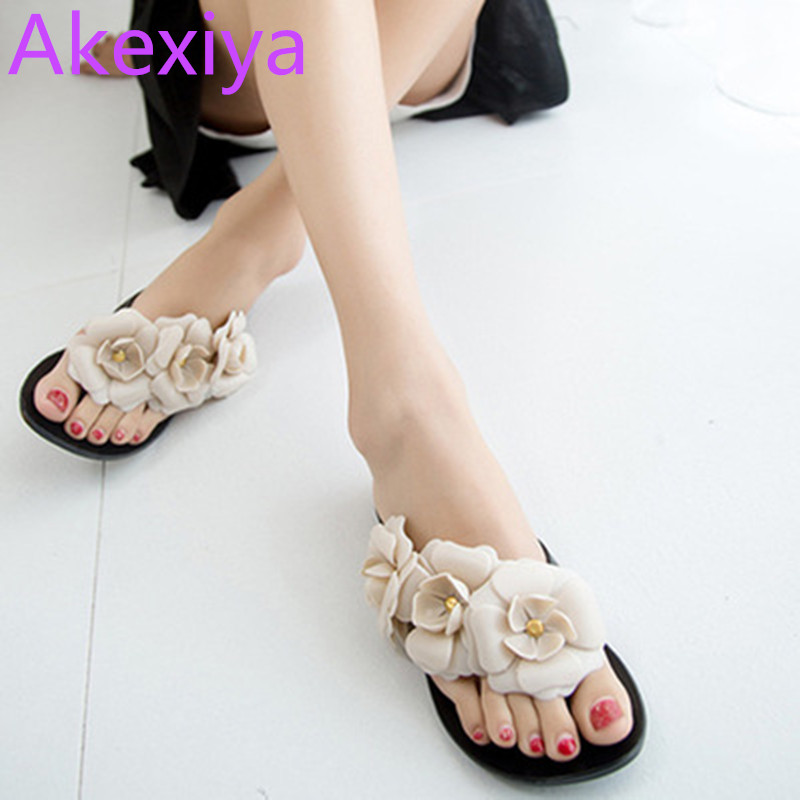 Akexiya Flower Women Sandals Flat Flip Flops Bohemian Gladiator Sandals Women Summer Style Fashion Beach Slippers zapatos mujer