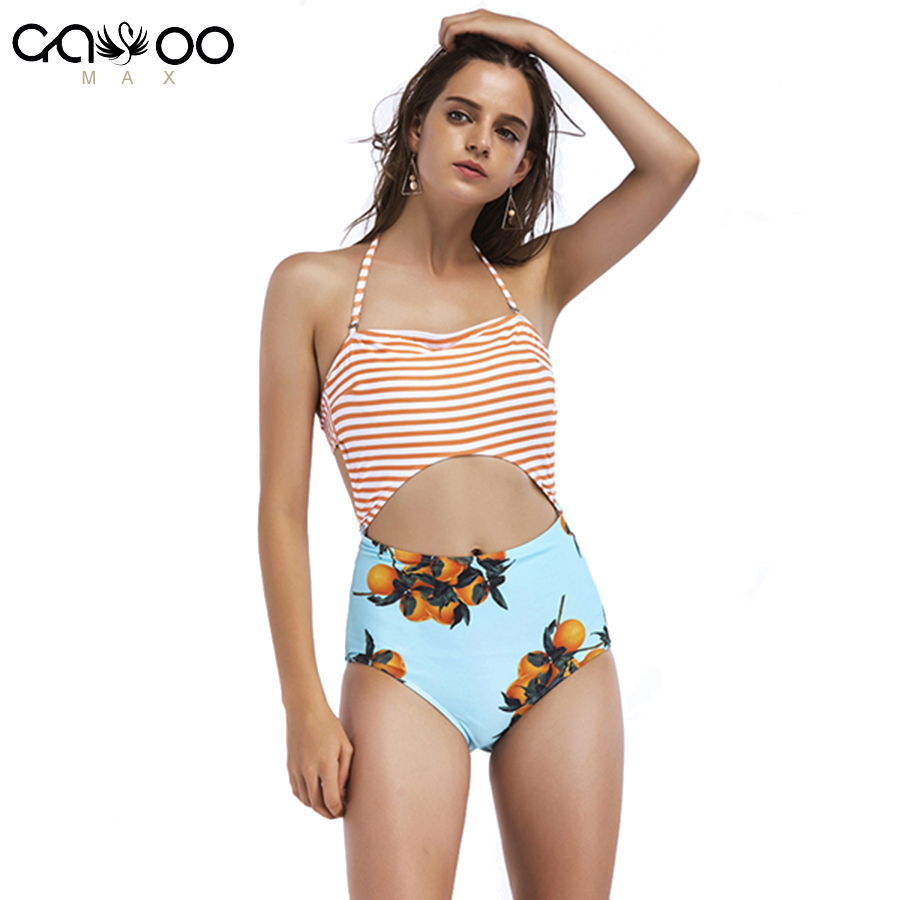 2018 Women's Leaves Printing Stripe Halter High Waist One-Piece Padding Swimsuit With Cutout Backless One Piece Swimsuit orange stripe pattern halter one piece swimwears