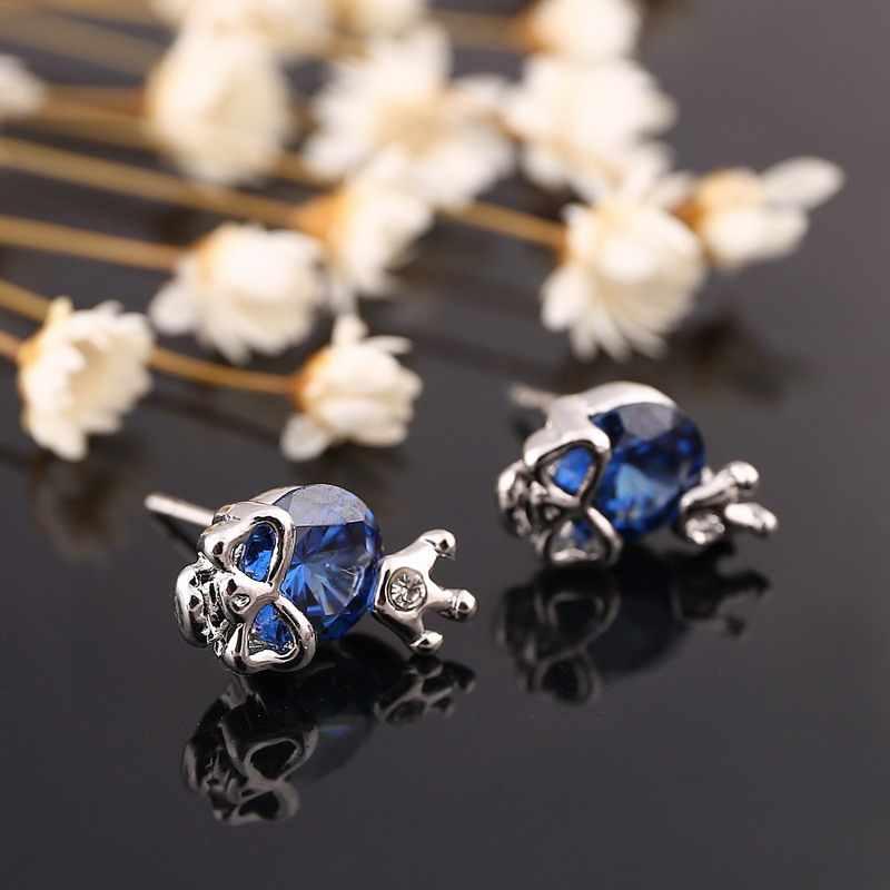 2016 موضة تقليد حجر الجمجمة وأقراط للنساء الفضة الأقراط تاج الزفاف مجوهرات brincos