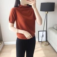JECH Spring Summer Women Solid Big Oversized Turtleneck Cashmere Wool Sweater Korean Short Sleeve Pullovers Knitted Top Femme