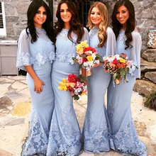 2016 Sweet Appliques Bridesmaid Dresses With Jacket Mermaid Floor-Length De Casamento Robe Demoiselle D'honneur Bridesmaid Dress