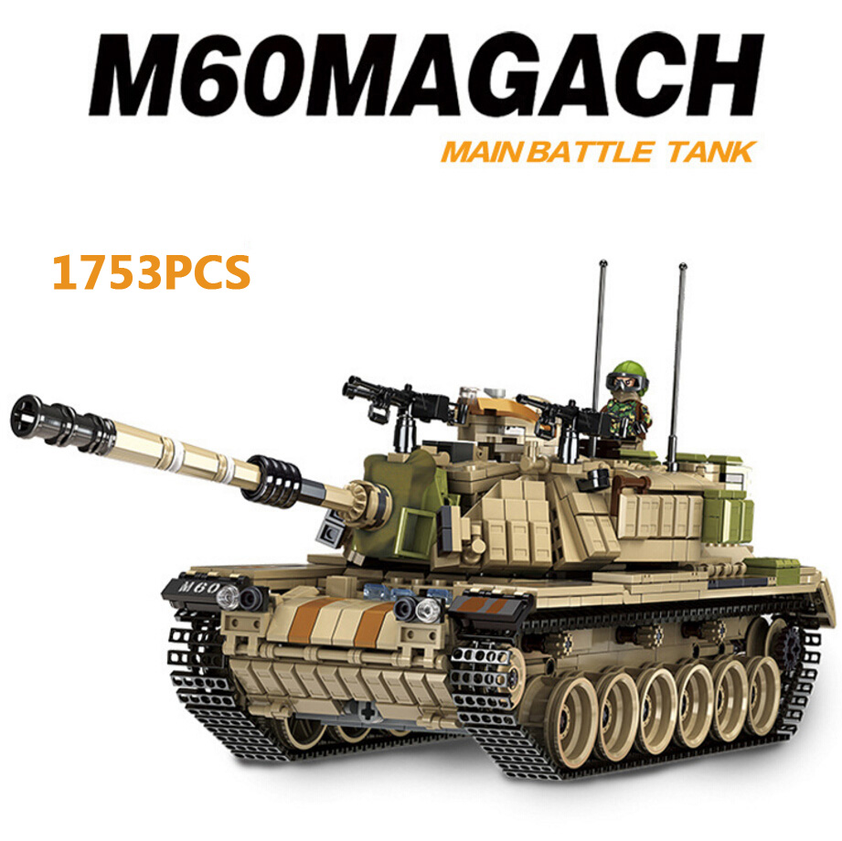 Modern military world war Israel M60 Magach Main battle tank 2in1 model building block ww2 army forces Brickmania toy collection oenux world war 2 united state army air forces fighter p 47 thunderbolt aircraft vehicle model military building block brick toy