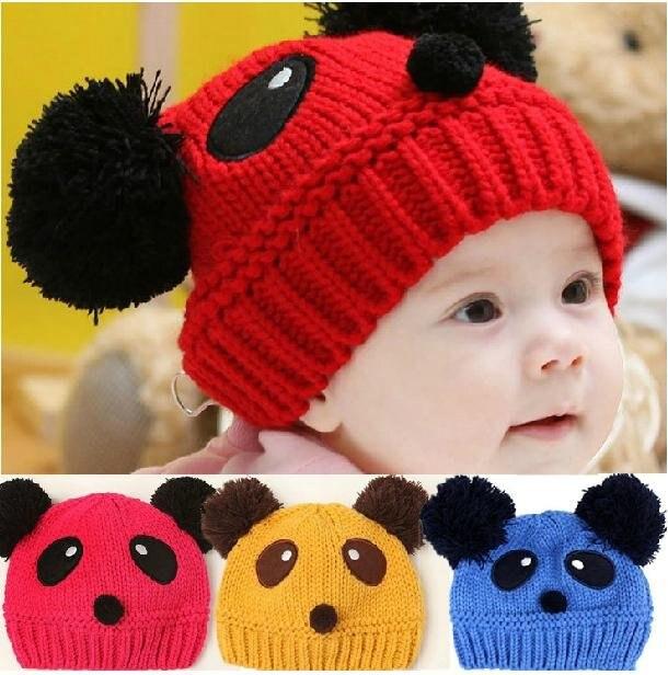 e71dfea6e19 New Panda style Cute boy girl Trendy Baby Toddler child hat Knit Beanie Hat  cap 10pcs lot 7colors