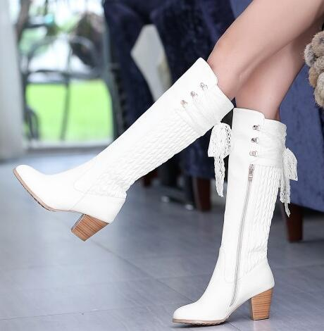 Women Winter Genuine Leather Thick High Heel Lace Round Toe Side Zipper Lace Up Fashion Knee High Boots Plus Size 34-45 SXQ1007 women autumn winter genuine leather thick mid heel side zipper round toe 2015 new fashion ankle boots size 34 39 sxq0905
