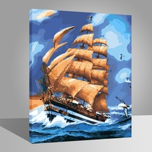RIHE DIY Seascape Painting By Numbers Sea Sailboat Blue Oil On Canvas Home Decor Acrylic Paint Wall Art For Living Room