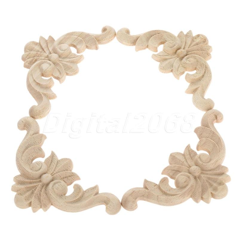 Buy 4pcs wood carved corner onlay frame for Applique furniture decoration